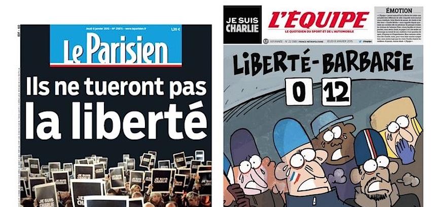 Tuerie à Charlie hebdo: les Unes de la presse du lendemain recensées par le journal Libération (Capture d'écran www.liberation.fr)