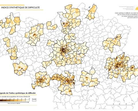 Indice synthétique de difficulté de la population, dans les 22 zones urbaines de Belgique.