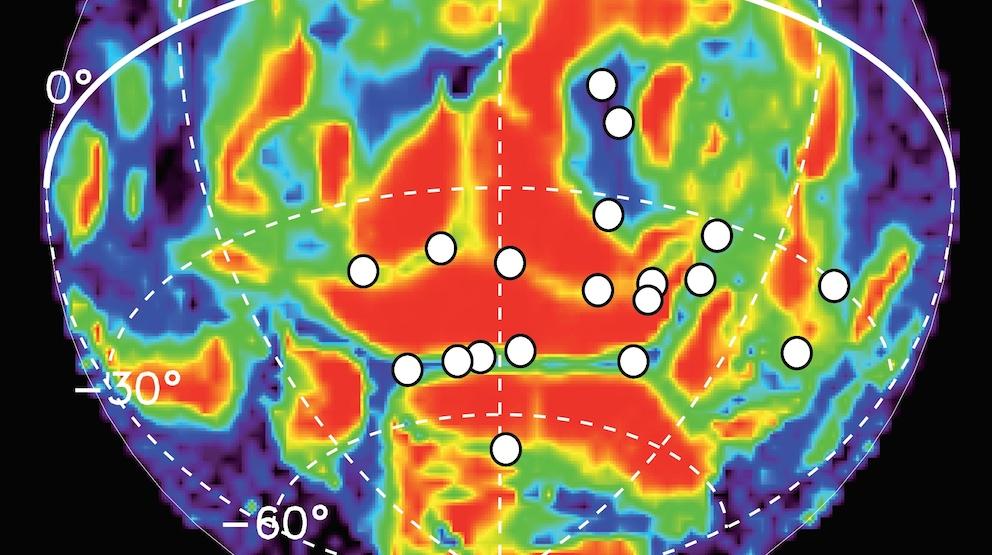 Mars Express : carte de distribution des aurores discrètes. © ESA/ULg