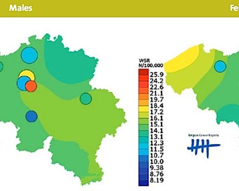 Carte de fréquence de mélanomes malins décelés en Belgique (2013)
