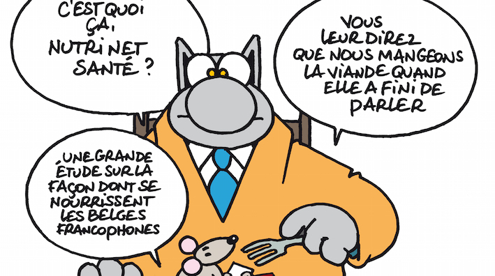 L'appel aux « nutrinautes » en 2013 en Belgique francophone, pour nourrir l'étude NutriNet Santé en FWB, avait reçu le soutien du Chat… et de Philippe Geluck, son dessinateur. © Philippe Geluck