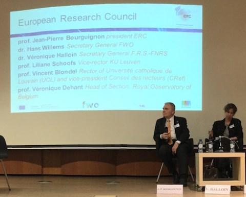 Palais des Académies, Bruxelles, cérémonie d'anniversaire à l'occasion des dix ans du Conseil européen de la Recherche.