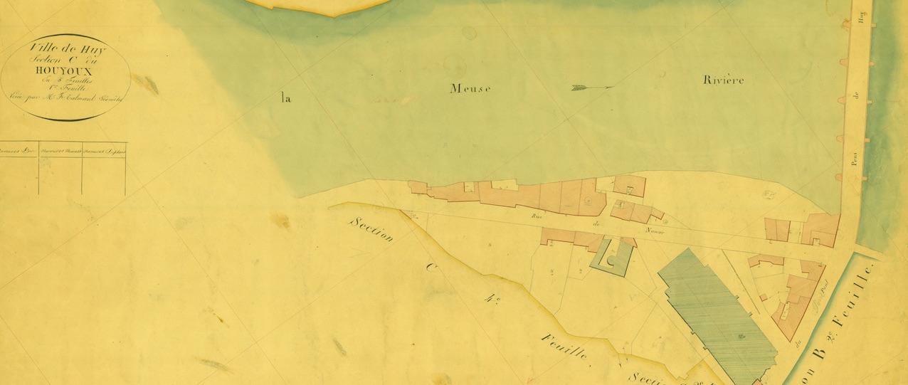 Huy, la Meuse et la collégiale Notre-Dame et Saint-Domitien. © Archives de l'Etat.