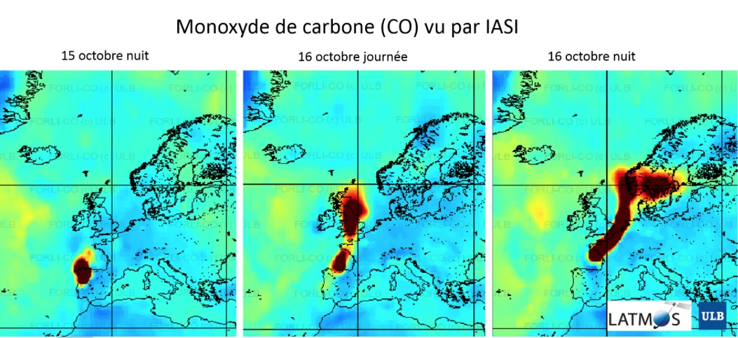 Suivi du monoxyde de carbone depuis l'espace.