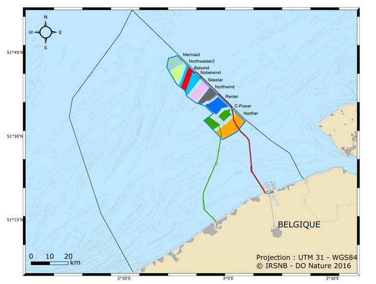 Localisation des parcs éoliens offshore dans les eaux territoriales belges.