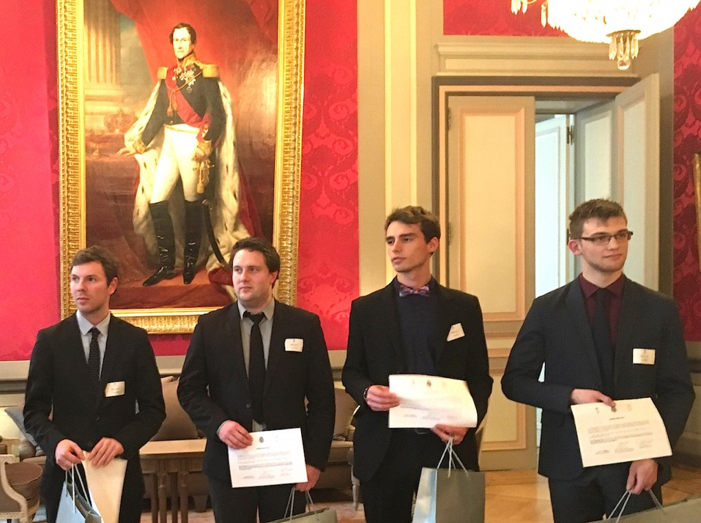 De gauche à droite, les lauréats de la cuvée 2017 du prix Odissea: Dimitry Schklar (ULiège), Thomas Bielen (Université d'Hasselt), Thomas Van Caelenberg (Université de Gand) et Robin Baeyens (KULeuven).