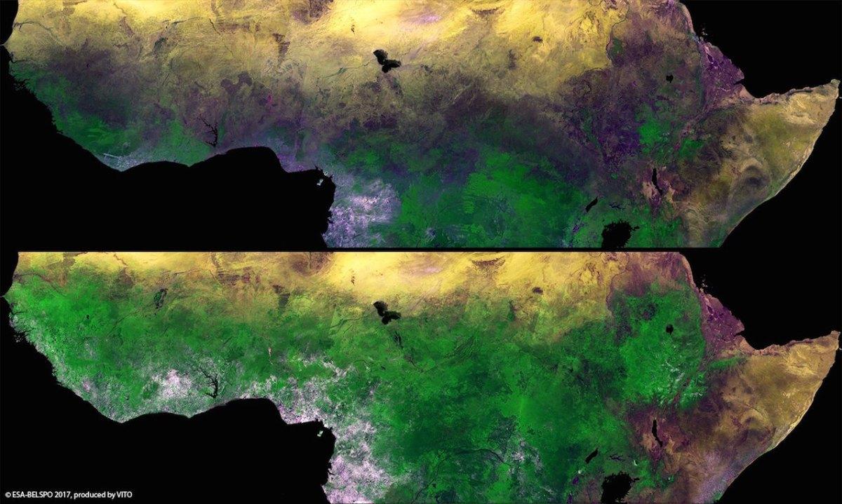 Comparaison de deux images du Sahel reconstituées au départ des données du satellite Proba-V. © VITO/Belspo