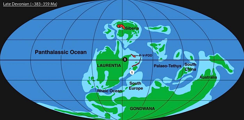 Carte géographique de la Terre au Dévonien.