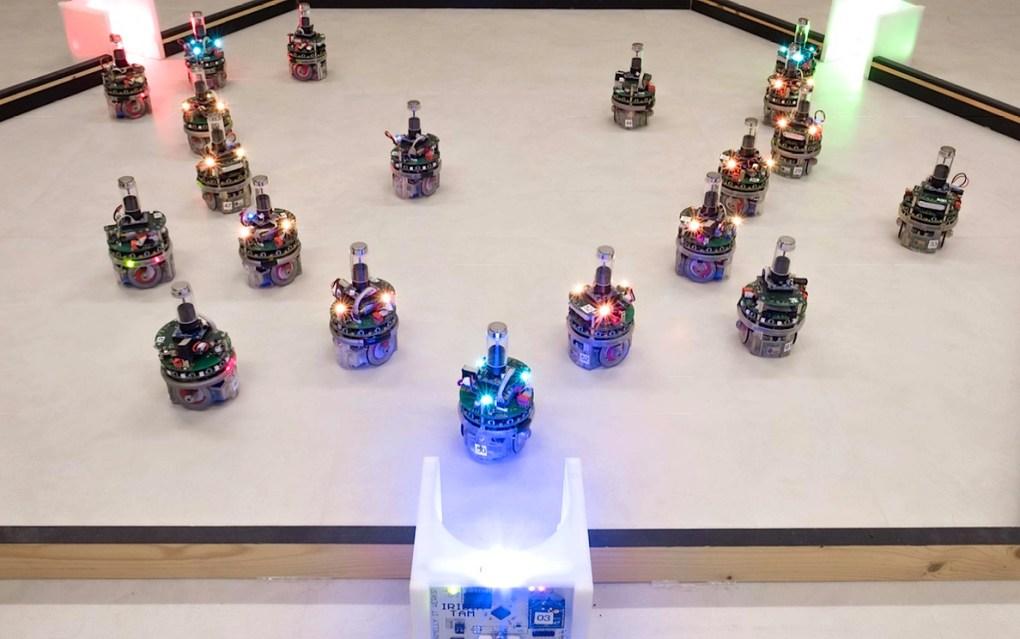 Les robots travaillant en essaim de l'IRIDIA ne ressemblent bien entendu pas à l'illustration en tête de cet article, mais plutôt à ceux-ci: des engins mobiles, capables de communiquer entre eux.