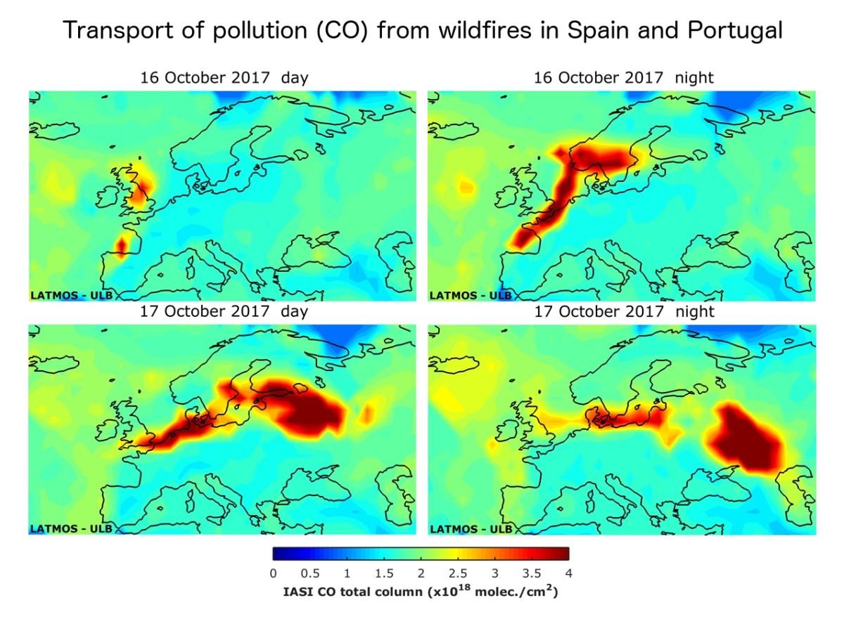 Conséquences des vents suivant les feux de forêt ayant rongé l'Espagne et le Portugal l'année dernière. Le satellite a pu mesurer les concentrations très élevées de monoxyde de carbone sur notre territoire ce jour-là. Sans les satellites, impossible de suivre ainsi ce phénomène à la trace et d'en comprendre l'origine si clairement.