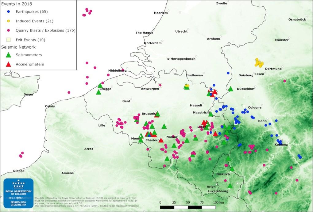 Activité sismique en Belgique en 2018. Source: rapport annuel sismologie/gravimétrie, Observatoire Royal de Belgique.