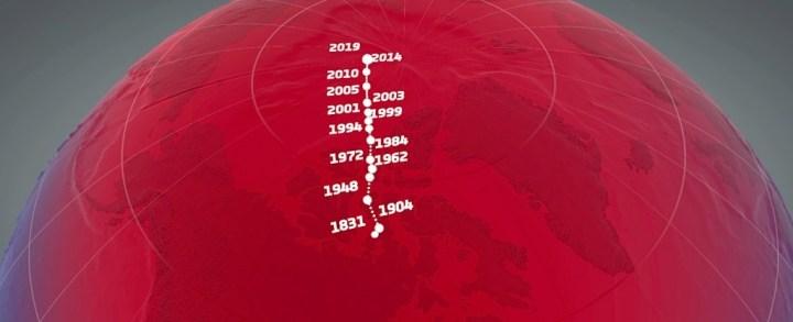 Dérive du pôle Nord magnétique depuis 1831 © ESA