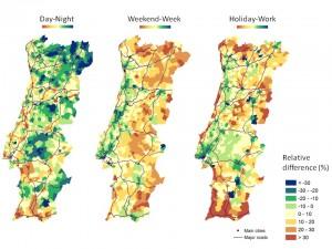 Différences relatives de densité de population au Portugal, dérivées des appels téléphoniques (GSM)  pendant les vacances et pendant la période de travail, entre le jour et la nuit, la semaine et le weekend. © Catherine Linard
