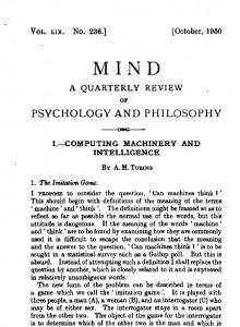 """Article de 1950 pubklié dans MIND, par Turing : """"Computing Machinery and Intelligence"""""""