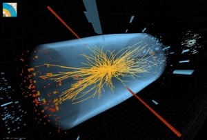 Exemple de détection de la signature d'un boson de Brout-Englert-Higgs dans l'expérience CMS. © CERN