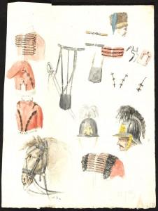 Jean-Baptiste Rubens, «Bataille de Waterloo, croquis par J.B. Rubens », Croquis d'uniformes des armées anglaise et hanovrienne. Crayon, plume et aquarelle. ©Bibliothèque royale de Belgique