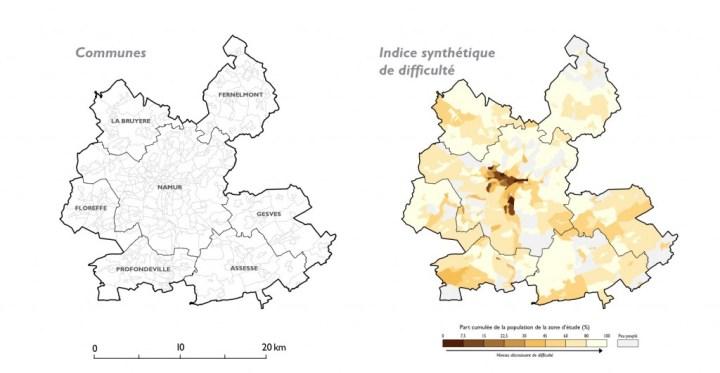 Zone urbaine de Namur, Indice synthétique de difficulté. (Cliquer pour agrandir)