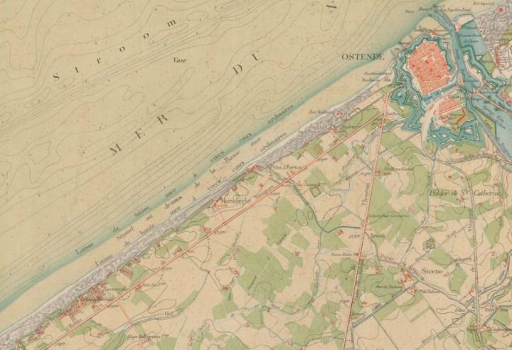 Ostende et le littoral en 1876. Dépôt de la Guerre. Carte topographique de la Belgique à l'échelle de 1:20.000ème, planchette XII/2 Ostende. © IGN  Cliquer pour agrandir.