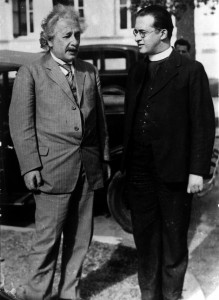 Rencontre entre Einstein et Lemaître, à Pasadena (Californie), en 1933. © Archives UCL (Cliquer pour agrandir)