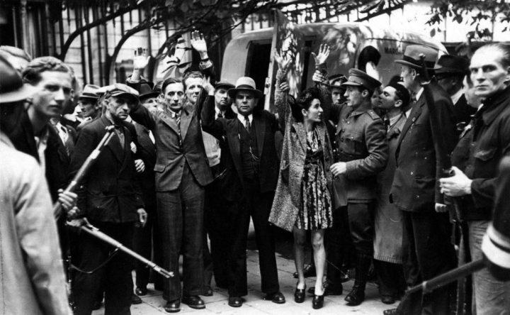 « Anvers, collaborateurs arrêtés par la résistance, 1944 ». Droits réservés (CegeSoma : n° 28307).