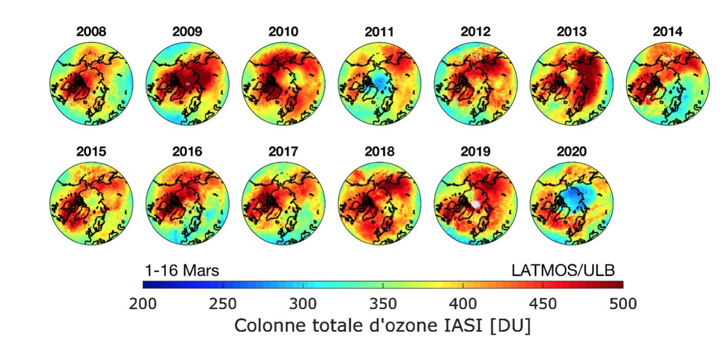 Distribution d'ozone mesurée chaque année à la fin de l'hiver (1-16 mars) par l'instrument IASI à bord du satellite Metop. Les couleurs jaunes à rouges indiquent les régions avec de fortes concentrations d'ozone, les couleurs bleues indiquent des concentrations deux fois plus basses (2011 et 2020).