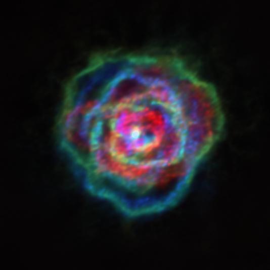 Exemple d'une nébuleuse en forme de pétales de rose, autour de l'étoile R/Aquilae. © L. Decin, ESO/ALMA