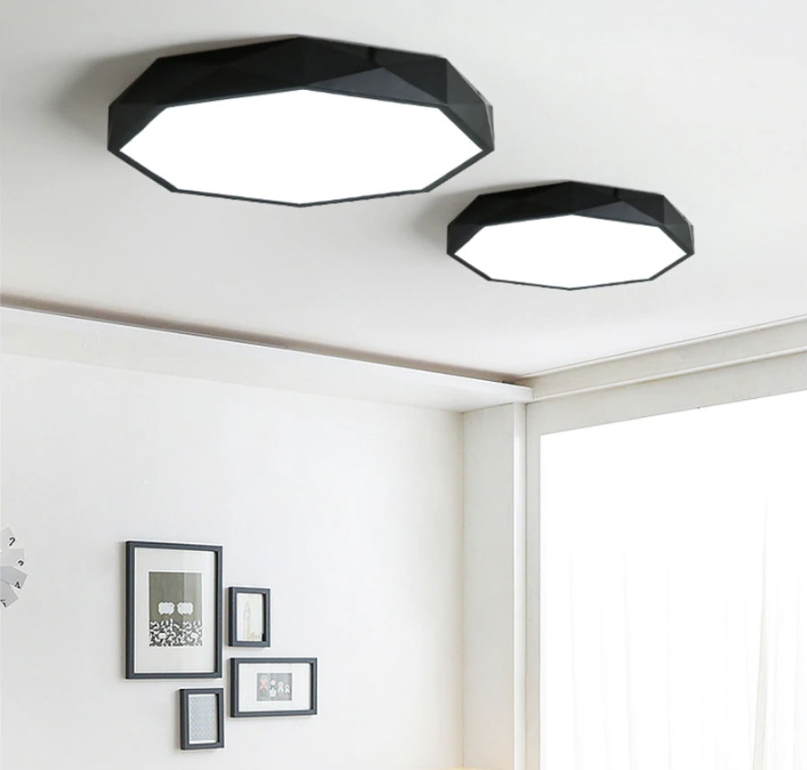 plafonnier led octogonal noir moderne luminaires