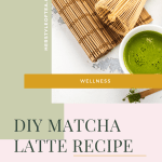 Matcha in bowl and whisk with text - DIY Matcha Latte Recipe