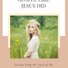Photo of a woman in white standing in a field and text - how to share the Gospel like Jesus did