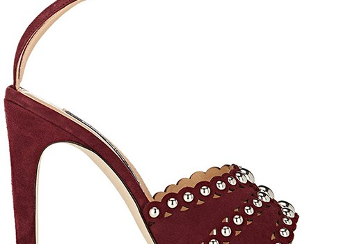 SERGIO ROSSI Studded Suede Ankle-Strap Sandals