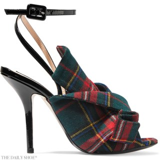 NO. 21 Knotted Tartan Canvas and Patent-leather Heels