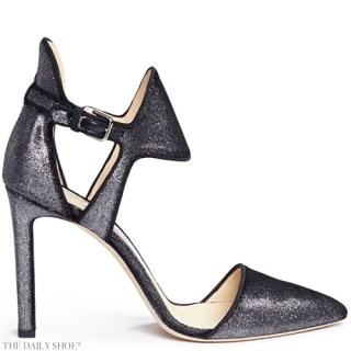 JIMMY CHOO MOON 100 METALLIC VELVET DORSAY PUMPS