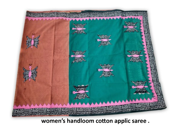 Woman's Handloom Cotton Applic Saree