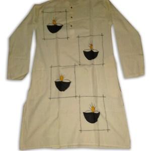 Men's Cotton Applic Punjabi (White)