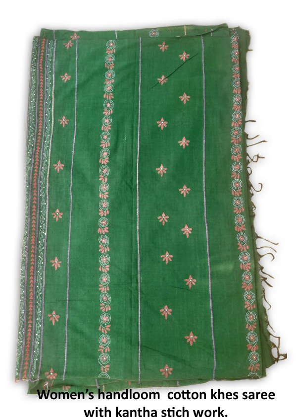 Woman's Handloom Cotton Khes Kantha Stich Work Saree