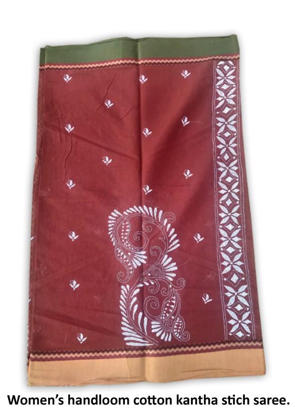Womans Handloom Cotton Katha Stich Saree - 3