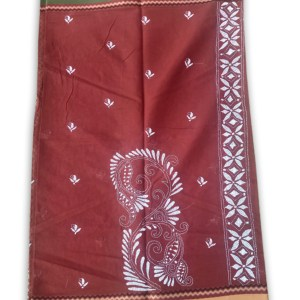 Womans Handloom Cotton Katha Stich Saree - 3