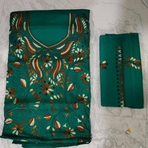 Women's Handloom Cotton Kantha Stich Churidar Piece With Duptta (6)
