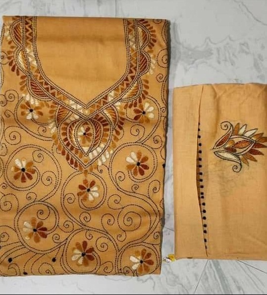 Women's Handloom Cotton Kantha Stich Churidar Piece With Duptta (10)