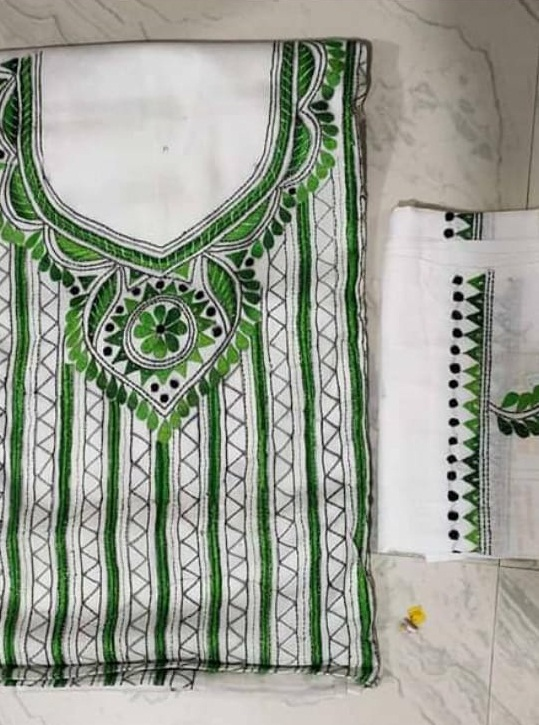 Women's Handloom Cotton Kantha Stich Churidar Piece With Duptta (13)