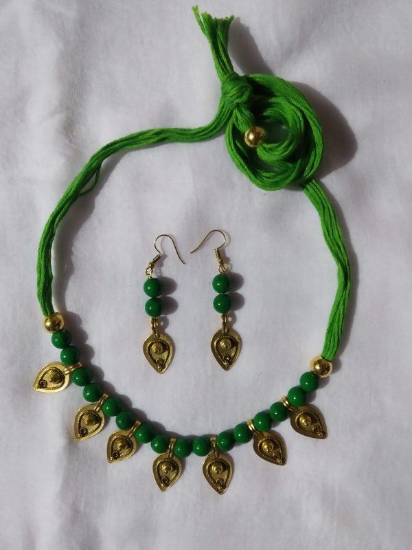 Shantiniketan Green beaded Necklace