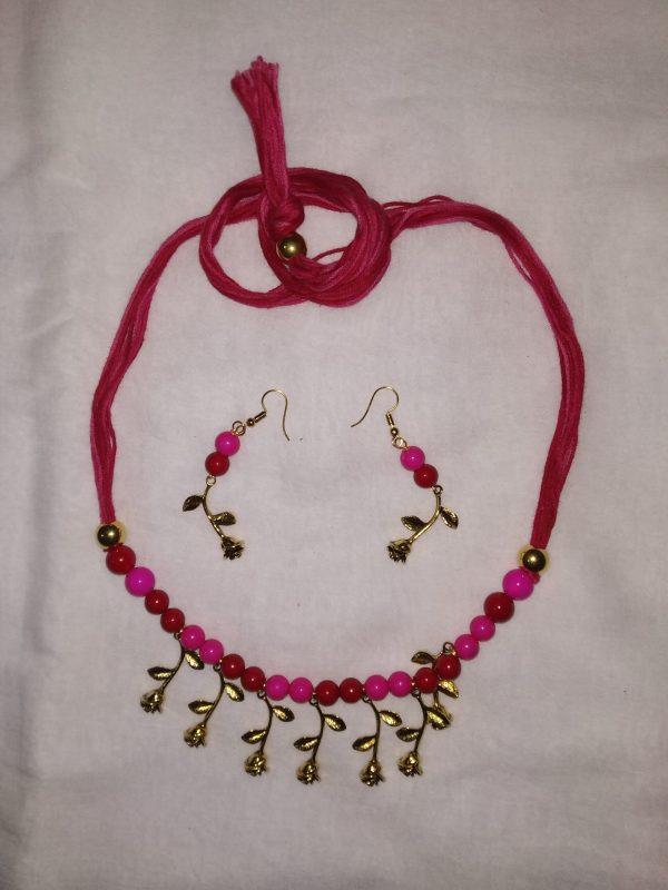 Shantiniketan Pink beaded Necklace