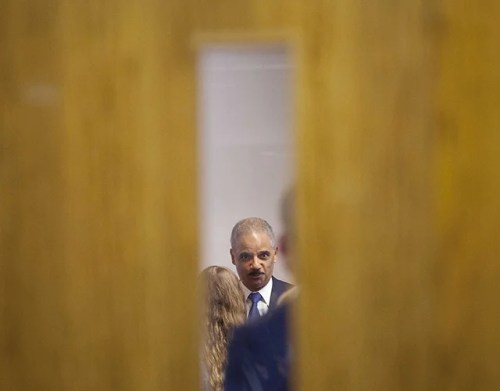 Holder during his closed door meeting with students at St. Louis Community College Florissant Valley. (Photo: Pablo Martinez Monsivais/Newscom)