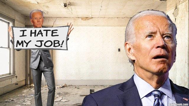 Joe Biden standing with his body double inside white room.