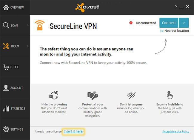 Avast SecureLine VPN windows