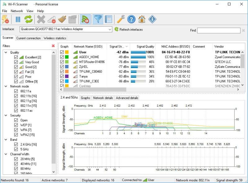 LizardSystems Wi-Fi Scanner windows