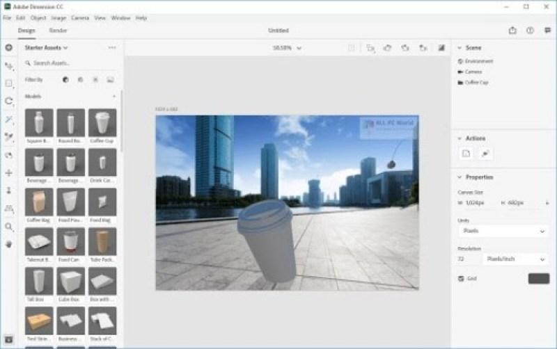 Adobe Dimension windows