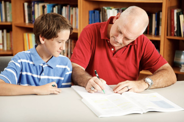 Boy in library being tutored by male teacher
