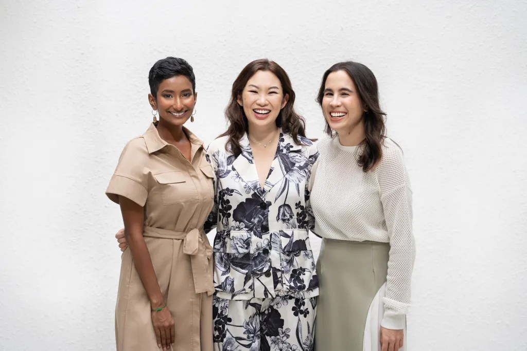 The powerful trio, the co-founders of Cult Creative (from left) Manisha Jagan, Shermaine Wong and Lina Esa. Supplied.