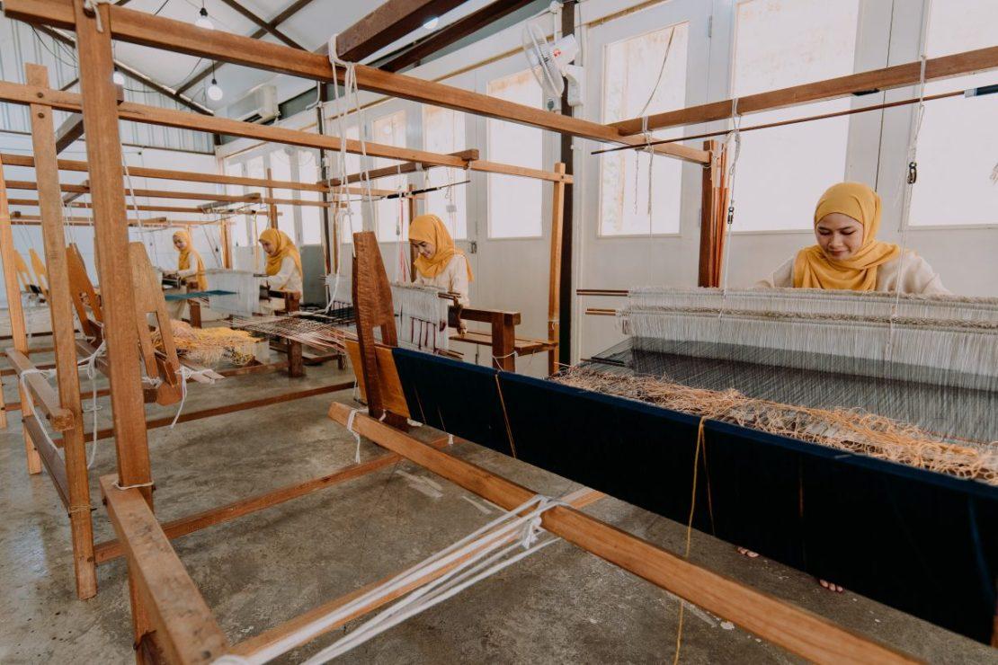 Tanoti Malaysia Weaving atelier of songket weavers.